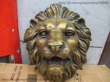 Chinese classical Bronze Carved Foo Dog Lion King Head Mask Wall hanging Statue