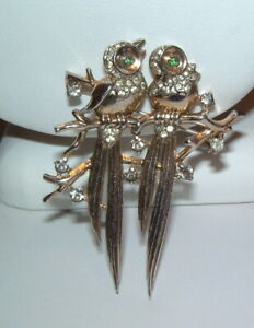 Vintage Signed Crown Trifari Sterling Silver Double Birds W Stones Pin Brooch