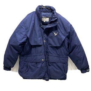 Triple FAT Goose Down Filled Coat Parka Winter Mens Size XL Navy Blue Vintage