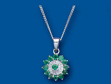 Emerald and Diamond Pendant Solid Sterling Silver Necklace