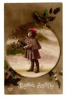CPA fantaisie Bonne Année Fillette et branches de Houx fantasy postcard