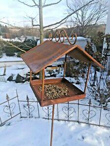 Gr.VogelhausFutterstelle z. stecken  Futterplatz  Edelrost 24x25xH25+117 cm Stab