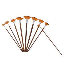 9Pcs Copper Tube Fan Shape Painting Brush Paintbrush Oil Painting Gouache Lots