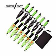 "THROWING KNIFE Perfect Point 6"" Green Black Set 12pc Zombie Skull Ninja + Sheath"