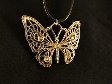 Schmetterling Anhänger 24 Karat Gold Lederkette Butterfly Strass Schmuck Damen