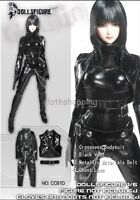 DOLLSFIGURE 1/6 Scale Female Black Leather Tight Suit Set F 12'' Action Figure