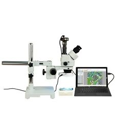 OMAX 3.5X-90X Zoom Trinocular 3MP Digital Boom Stereo Microscope+56 LED Light