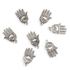 10pcs Hamsa Hands Beads Tibetan Silver Charms Pendant DIY Bracelet 10*15mm