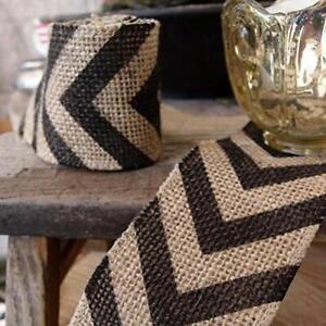 Quasimoon Burlap Fabric Wrap Roll w/ Black Chevron Pattern (2.4 x 6 Ft) by Pa...