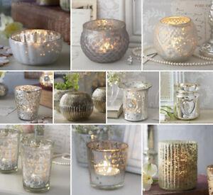 Glass Tea Light Collection Vintage / Antique Glass / Silver / Mercury / Lustre