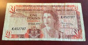 Vintage GIBRALTAR  £1 Banknote 1979