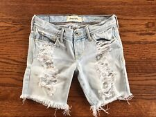 EUC Girls Teen Tween Abercrombie kids light distressed long denim jean shorts 12