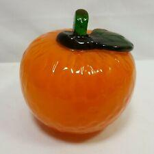 Glass Orange Fruit Murano Style Hand Blown Mid Century 3.5 Vintage Decoration