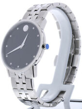 Movado Museum Classic Watch 0607201 Steel Band Silver Case 40mm Diamond Markers