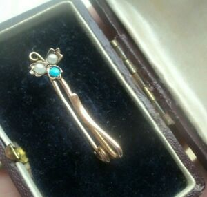 UNUSUAL Design Edwardian 9ct Rose Gold Turquoise & Pearl Brooch h/m 1904 Chester