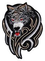 ad59 Wolf Hund Kopf Tattoo MC Biker Kutte Aufnäher Bügelbild Flicken 7 x 10 cm