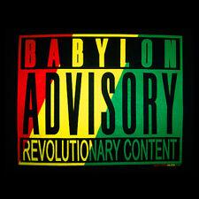NEW Reggae T-Shirt Rasta Babylon Advisory Revolution 100% Cotton, Small, Black
