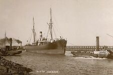 rp09493 - Cargo Ship & Paddle Tug , Blyth Harbour , Northumberland - photograph