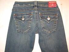 True Religion Jeans Women Billy Slim Straight Leg Flap Pocs Dark Sz 25
