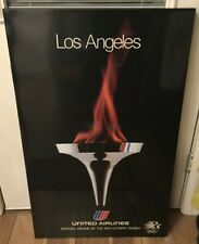 1980 LA Committee United Airlines Promotional Poster 1984 Olympics Sponsor Plane