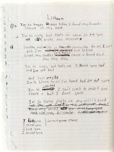 KURT COBAIN / NIRVANA Handwritten Lyrics 'Lithium' Rock Band / Singer preprint