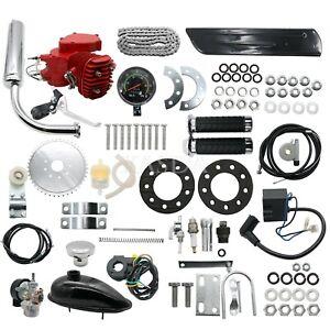 New 80cc Engine Motor Kit 2-Stroke for Motorized Bicycle Bike DIY + Speedometer#