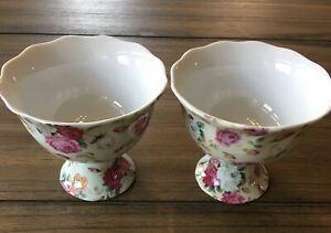 Set of 2 Bowls-ROSE CHINTZ Gracie China Footed Bowls Cups DESSERT APPETIZER SOUP