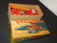 VINTAGE 1950'S TN TIN LITHO FRICTION TOY FIRE DEPT FIRE ENGINE TRUCK JAPAN