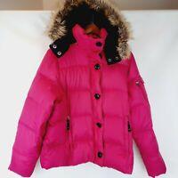 LL Bean Hot Pink 80/20 Goose Down Puffer Jacket Faux Fur Hood Juniors Size L