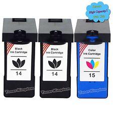 3 Combo Pack Ink Cartridge 14 15 18C2090 18C2110 For Lexmark X2600 X2670 Printer