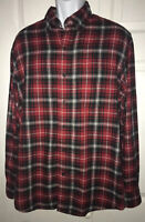 Chaps Ralph Lauren Cotton Flannel Plaid Red Black Shirt Button Down Sz LARGE EUC