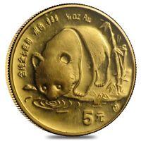 1987 S 1/20 oz Gold China Panda 5 Yuan Coin (Sealed)