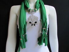 WOMEN GREEN SOFT FABRIC FASHION SCARF NECKLACE SILVER FLOWERS BUTTERFLY PENDANT