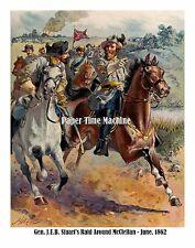 Confederate General J.E.B. Stuart Raid Around McClellan June 1862 Fine Art Print