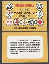 POLAND 1975 Matchbox Label - Cat.G#372/73 Civil Defence - teaches... red cross.
