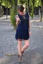 ZARA WOMEN NAVY BLUE EMBROIDERED LACE MINI DRESS WITH MESH DETAIL SIZE XS
