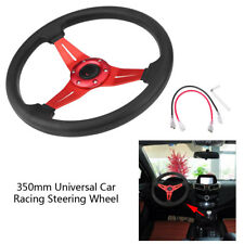 350mm Universal 6-Bolt PU Leather Car Auto Racing Steering Wheel w/ Horn Button