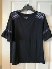 Riders by Lee Black W Aztec Embroidery & Flair Short Sleeve T Shirt Women's Sz L