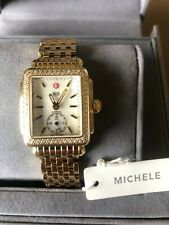 New Michele Deco Mid  Gold Plated Diamond Bezel White MOP Dial Watch - $2695