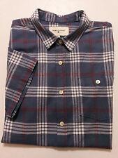 Modern Amusement Mens Shirt Large Flannel Gray Plaid Short Sleeves Button Front