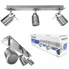 IP44 3 Head Directional Spot Light Bathroom Fitting GU10 Bulb Chrome Brushed Bar