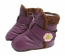 carozoo booties purple 6-12m soft sole leather baby shoes
