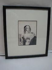 Antique Victorian Ink & Watercolor Portrait Of A Young Girl Framed & Matted #2