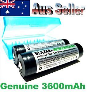 2x Blazar Protected Panasonic NCR18650G 3600mAh Rechargeable Li-ion batteries