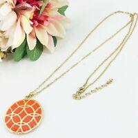 "Vintage Long Orange Enamel Pendant Necklace Round Gold Tone Chain 32"" - 35"""