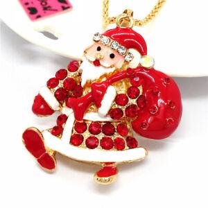 New Red Crystal Enamel Santa Claus Rhinestone Pendant Long Chain Necklace