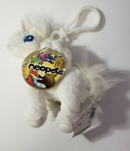 "NEOPETS LIMITED TOO 2005 WHITE UNI BACKPACK CLIP 4.5"" PLUSH STUFFED ANIMAL HTF"