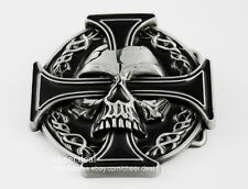 Mens Cool Punk Iron Goth Cross Evil Devil Demon Skull Tattoo Metal Belt Buckle