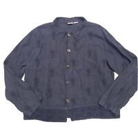 CP Shades Embroidered Irish Linen Button Front Top Large L Dark Blue