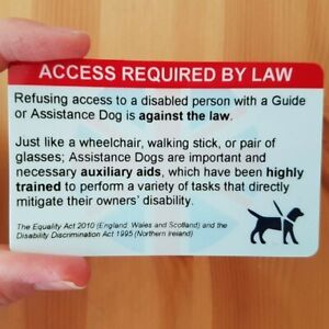 Assistance Dog UK Law Service Dog Guide Dog Owner Trained NOT an ID Card